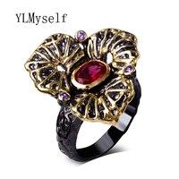 Винтаж черный листовой Кольца с круглым Красный Фиолетовый кубического циркония anillos Mujer дропшиппинг оптовая продажа изделия, перстень