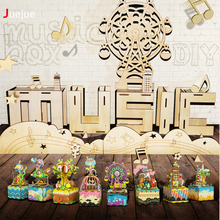 ZXZ 10 Styles 3D Puzzle Wooden Multi-color Rotate Carousel Music Box DIY Creative Educational Kids Toy Gifts With Wind Up
