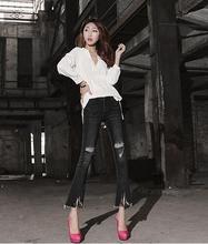 2016 Мода корейский стиль винтаж черный цвет с низкой талией bodycon flare брюки женщина джинсовые брюки отбеленные ripped джинсы женские D156
