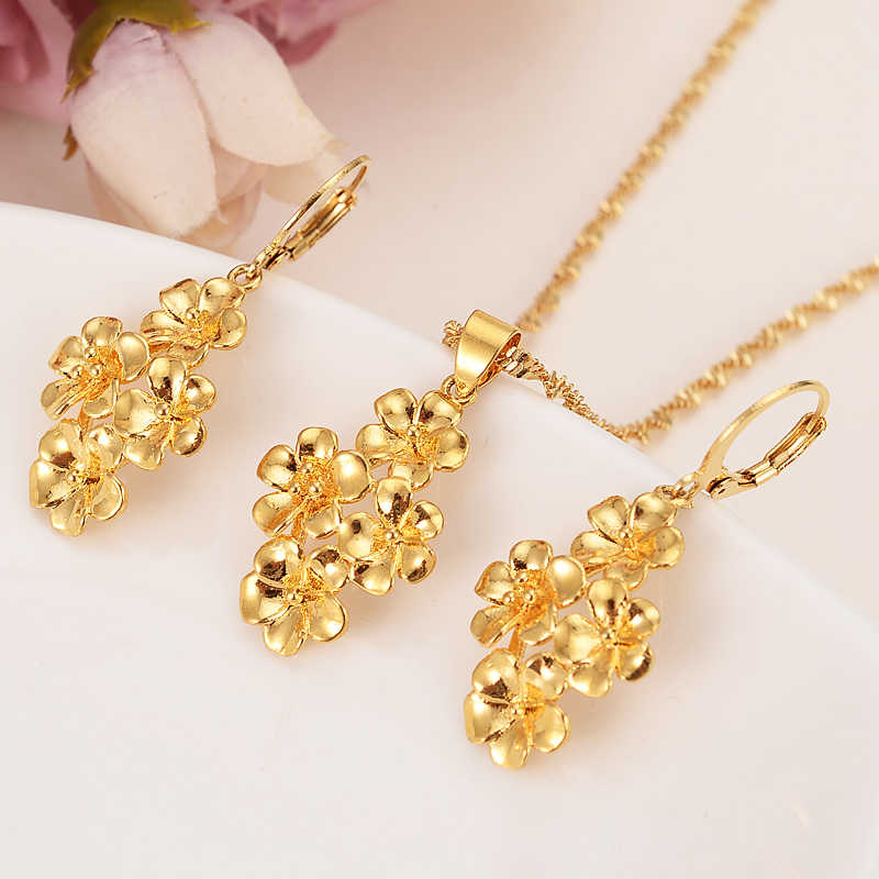 gold Necklace Earring Set Party Gift vintage flowerJewelry Sets daily wear mother gift DIY charms women girls  Fine Jewelry