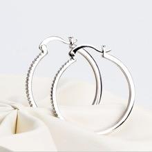 925 Silver Women Hoop Earrings Big Circle AAA Shiny Zircon Simple Big Jewelry Earring for Women 4 Kinds Size Choose