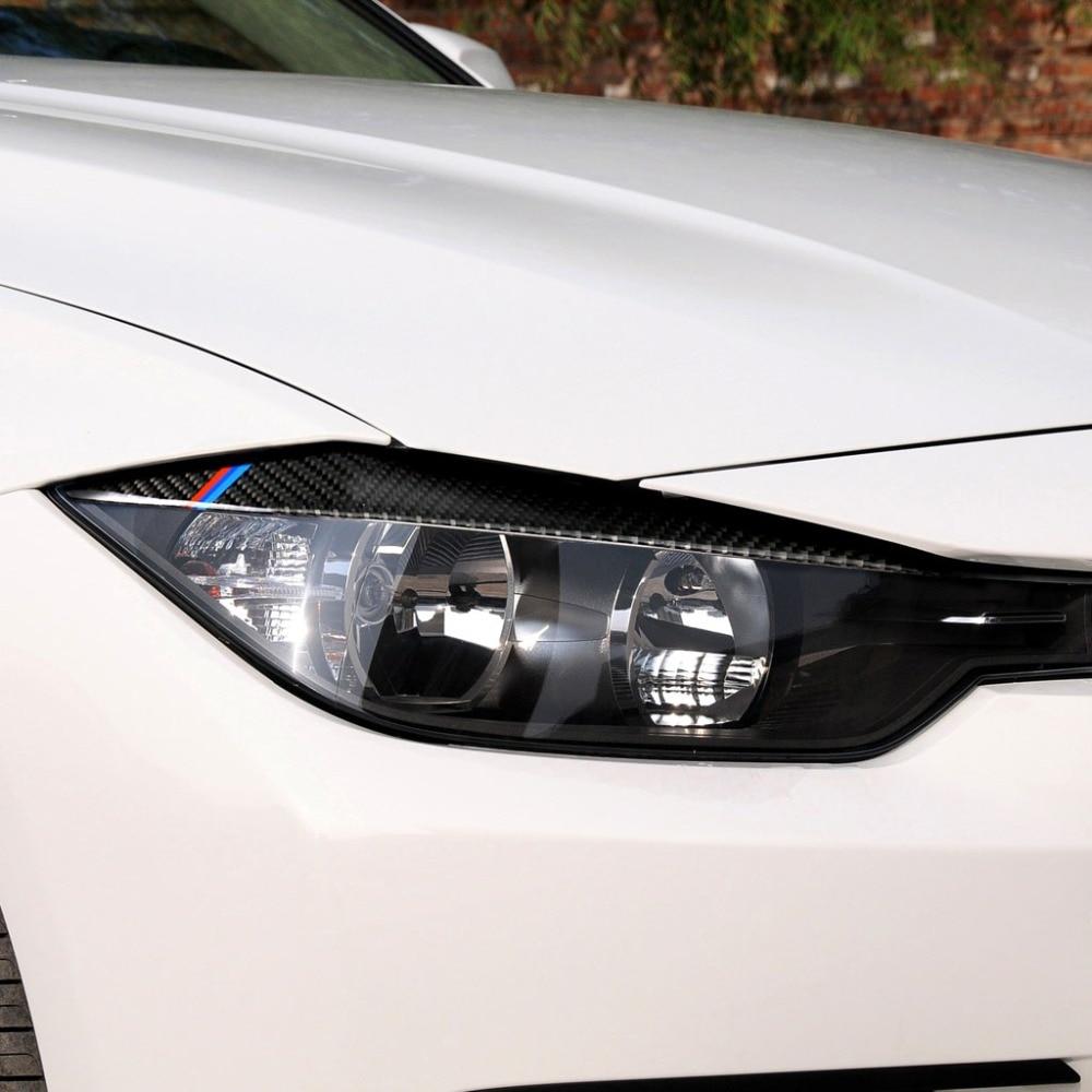 2x Carbon Fiber Headlight Eyelid Cover Eyebrow Trim Sticker for BMW F10 5 Series