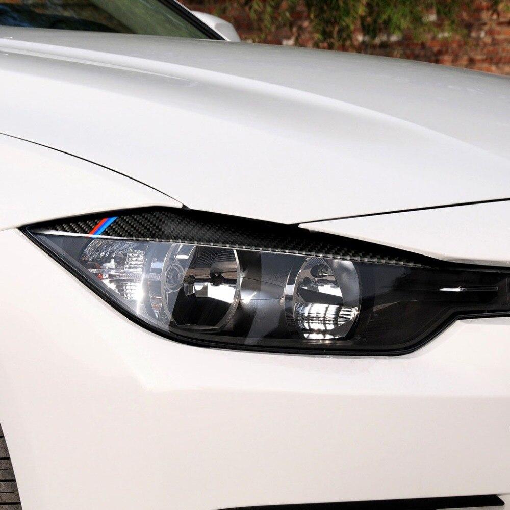 2019 Para BMW F30 F31 F32 f33 F343 estilo 2 pcs Adesivo Fibra De Carbono Farol Sobrancelhas Pálpebra Guarnição da Tampa do Olho tampa Decoração 2012