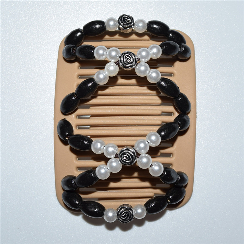 Black white rose beads flower new style girls golden magic comb 20pcs/lot best gift medium comb