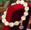 Pérolas naturais opala pulseiras braceletes de aço inoxidável de cristal moda feminina pulseira do vintage 030