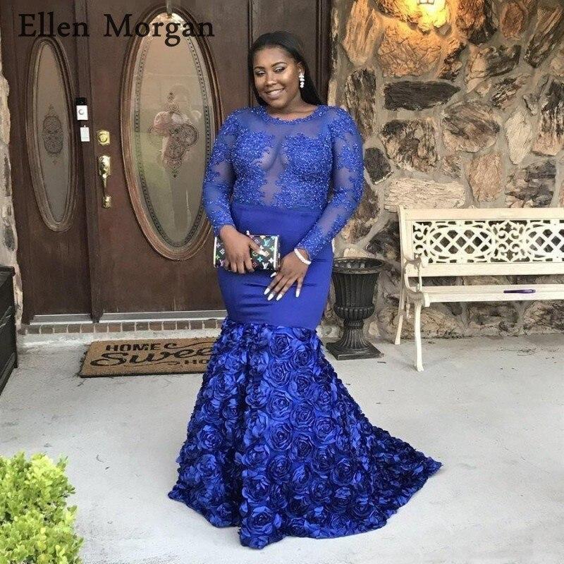Grande taille bleu Royal sirène robes De bal 2019 pour les femmes Court Train voir à travers la dentelle manches longues étincelant Vestido De Festa