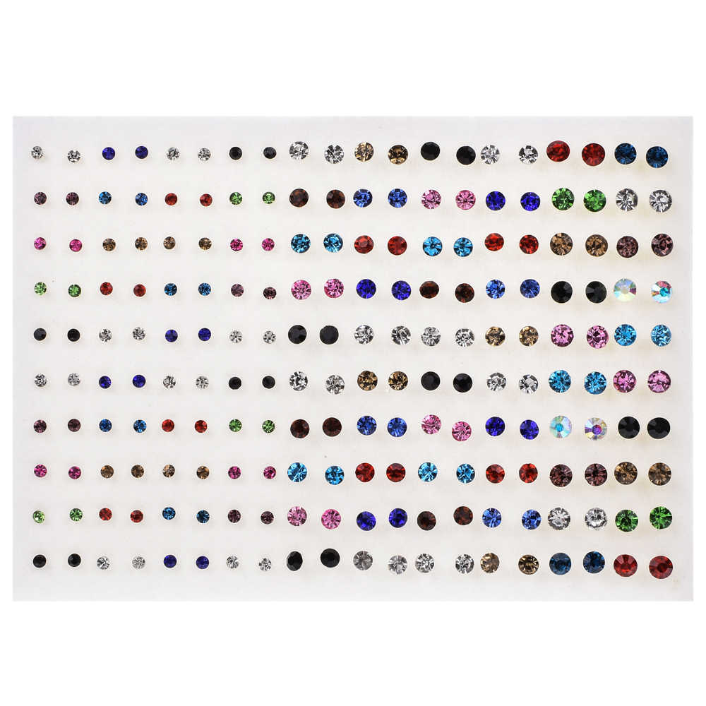 100pairs/set Mixed Style Rhinestone Crystal Stud Earrings Sets Geometric Round Small Earring For Women Birthday Jewelry Gift