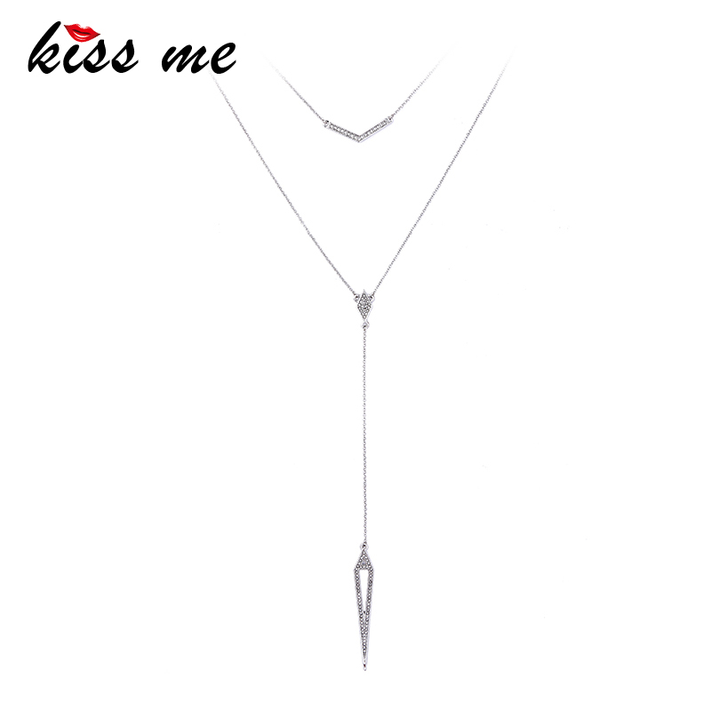 KISS ME Silver-color Metal Chain Collier Long Pendants Gifts Lady Charm Necklaces Jewelry Women Accessories