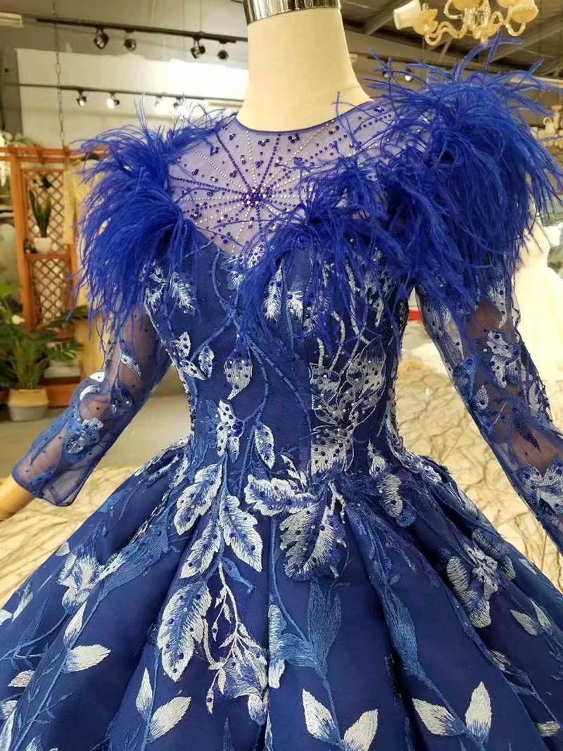 LSS377 כחול שמלות נשף כדור שמלת נוצת o צוואר ארוך שרוול מוסלמי שמלת ערב אורך קיר קפל מפלגת שמלות גבירותיי 2019