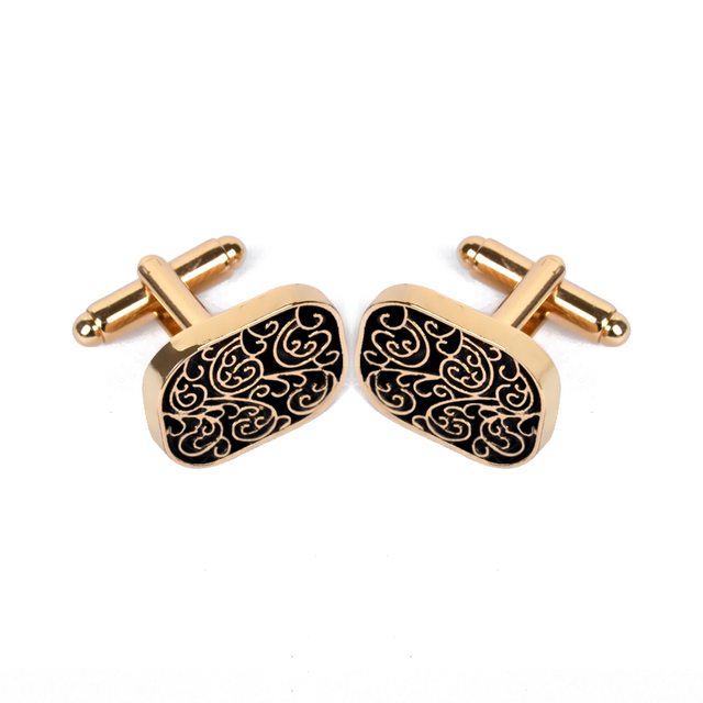 3d3c9eb6378c Floral Pattern cuff links Button High-grade Spartan old vintage square  Cufflinks For Men Retro Exquisite Brass Stamping Gemelos