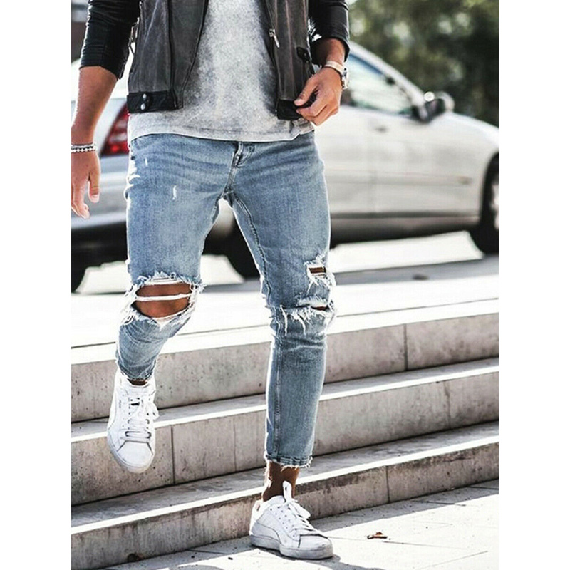 Fashion Men's Jeans Ripped Skinny Jeans Destroyed Frayed Slim Fit Denim Pants Long Pants Denim Biker Work Trousers