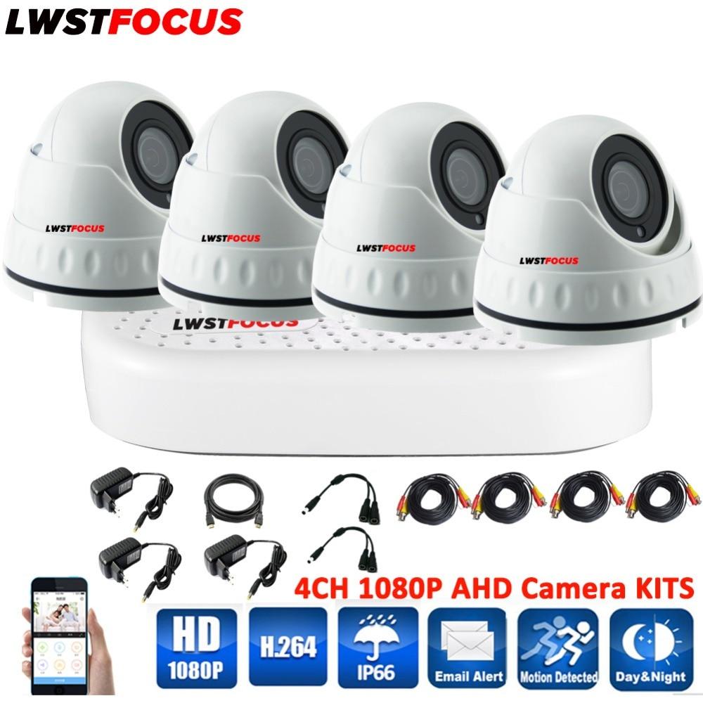 LWSTFOCUS 4CH CCTV System Kits 1080P HDMI AHD CCTV DVR 4PCS 2 0MP Metal Waterproof IR