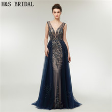 H&S BRIDAL Navy Blue Luxurious Evening Gown V Neck evening dresses Crystal Beading Prom Dress Backless long dress 2019