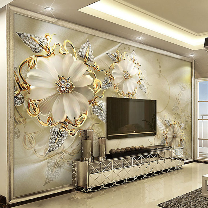 Large 3d European Pearl And Rose Jewelry Tv Background: Custom Photo Wallpaper 3D Stereo Relief Jewelry Flowers