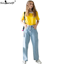 2019 New Summer Free Shipping Casual Jeans Women's Cotton Loose Mopping Jeans Wide Leg Pants Hip Hop Large Size Jeans Women