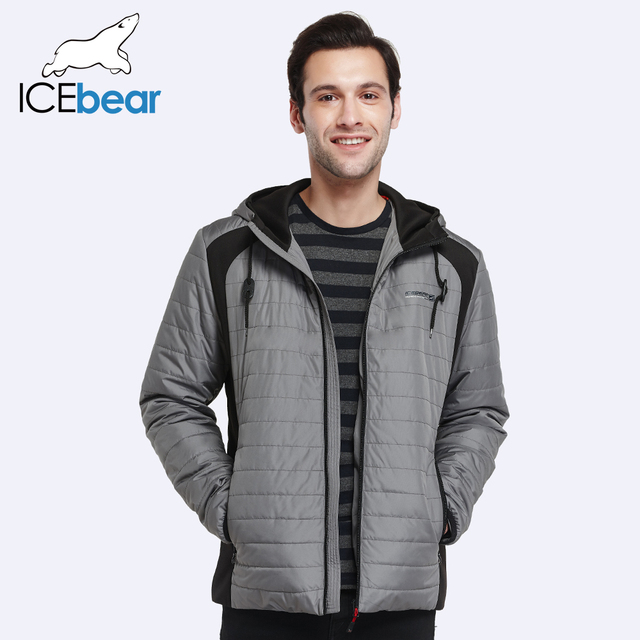 ICEbear 2017 Autumn And Spring Cotton Padded Jacket Men Famous Brand Windproof Thin Warm Parka For Men Short Coat