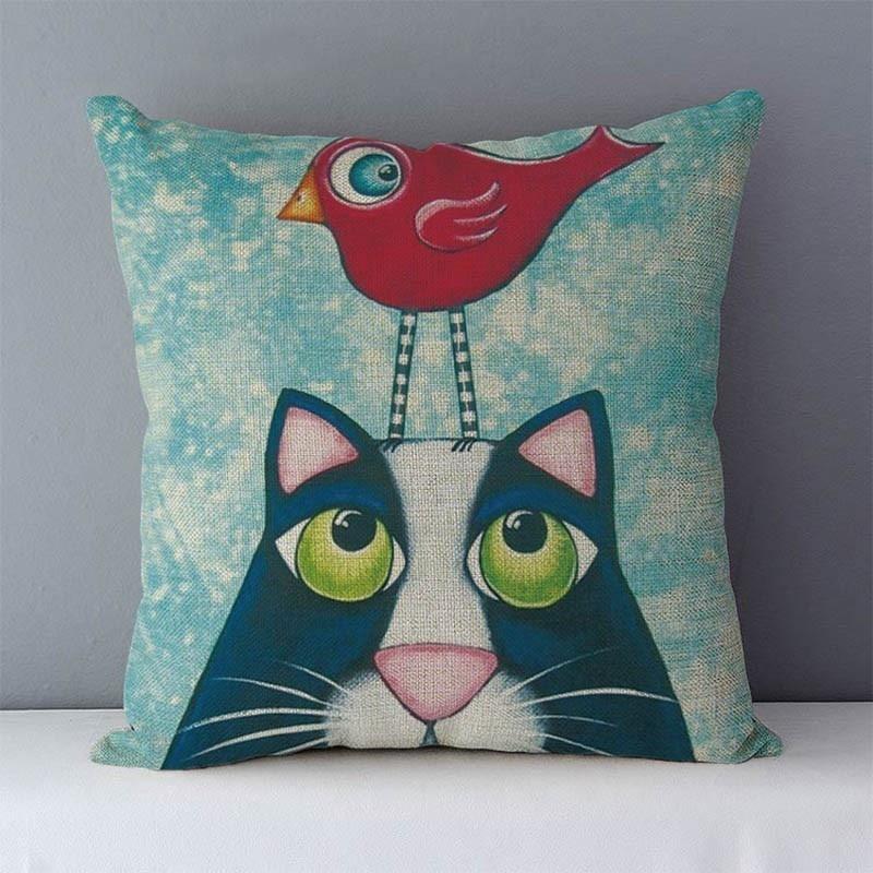 HTB1FOqjXjzuK1RjSspeq6ziHVXaW Selected Couch cushion Cartoon cat printed quality cotton linen home decorative pillows kids bedroom Decor pillowcase wholesale