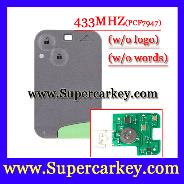 Free Shipping  (1pcs) 2 button Smart key 433MHZ for Renault Laguna espace card with pcf7947  chip  and Emergency Key brand new high quality remote key keyless alarm 2 button for renault laguna smart card with insert small key blade 434mhz