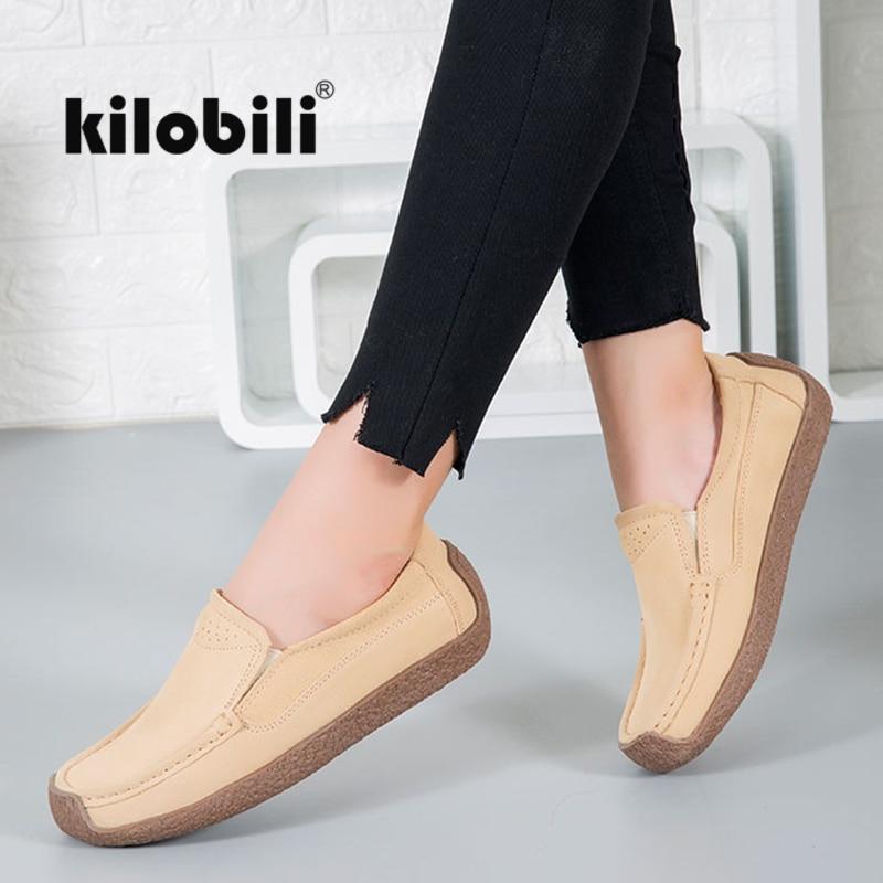 kilobili 2018 Autumn Women flat shoes Black   Suede     leather   loafers shoes ladies Slip on ballet flats female oxford boat shoes