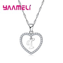 YAAMELI New Arrival Letters Necklace For Women/Girls 925 Sterling Silver Trendy Crystal Jewelry Pendnat Necklaces High Quality(China)