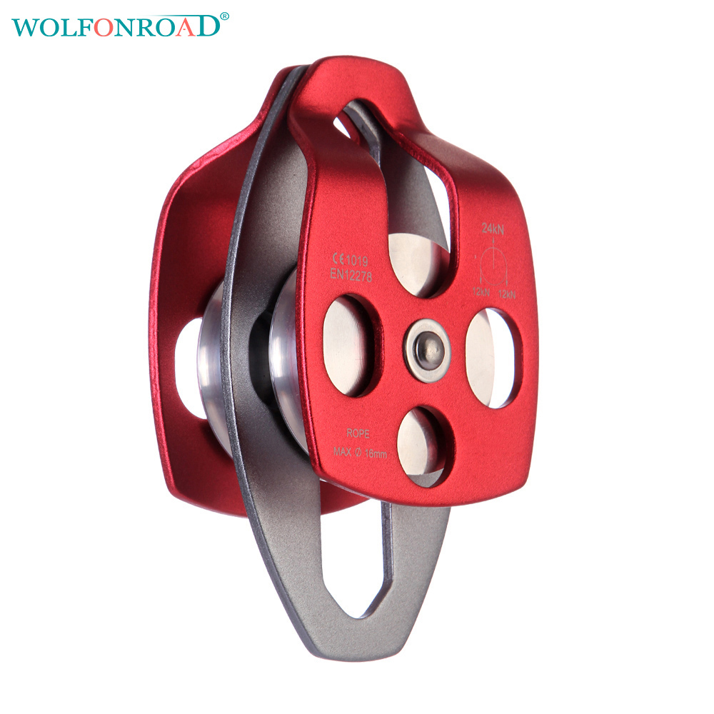 WOLFONROAD Double Wheels Pulley Rock Climbing Rescue Pulley Double Prusik Pulley Carriage Device L-XDQJ-57