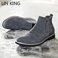 LIN KING The Chelsea Boot Men Suede Hombre Martin Boots Low Heel Nubuck Leather Ankle Boots Vintage Sewing Thread Britain Botas