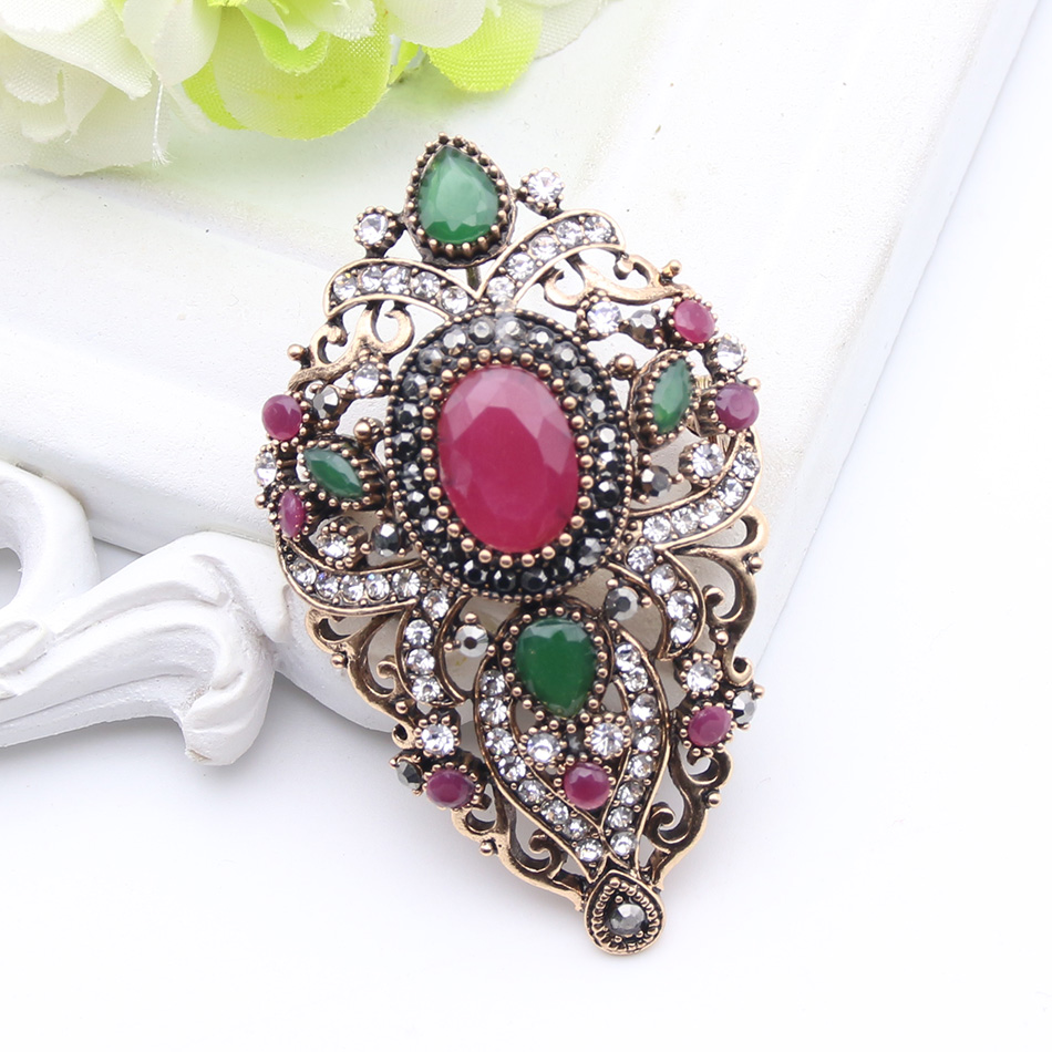 Turki Antik Wanita Bunga Bros Pins Warna Emas Antik Resin Broches - Perhiasan fashion - Foto 3