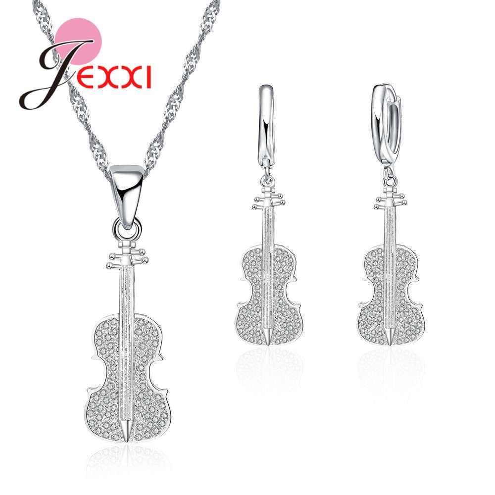 "Fashion Vintage Style 925 Sterling Silver Tone Charm Guitar Women Jewelry Set Earring Pendant Short Necklace 18"" Kids Girls Gift"