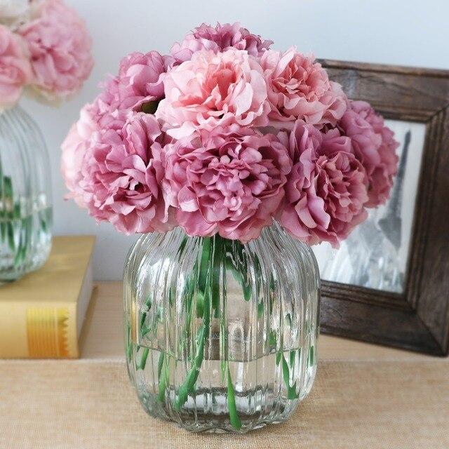 10 Pcs Mignon Soie Artificielle Fleurs Pas Cher Hortensias Pivoine
