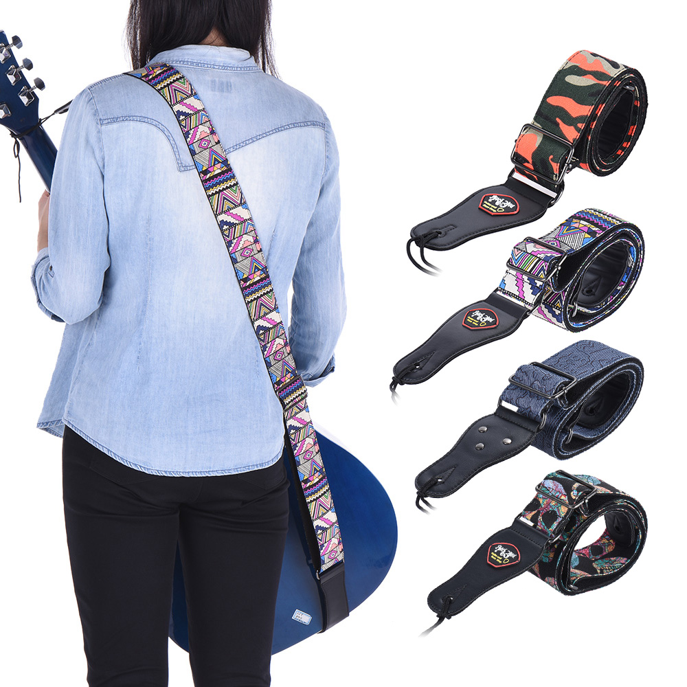 adjustable guitar strap guitar shoulder strap with pick pocket for acoustic folk classical. Black Bedroom Furniture Sets. Home Design Ideas