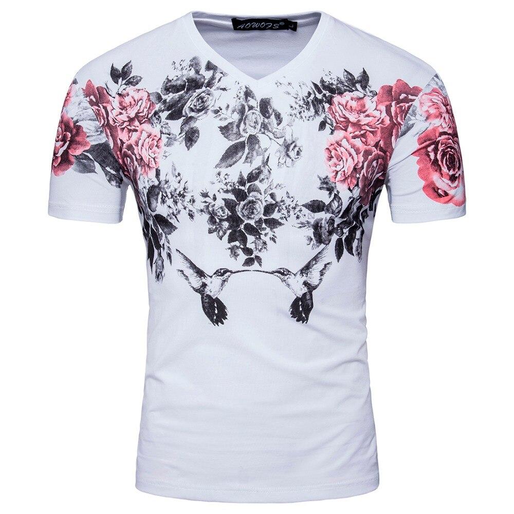 font b Men b font Short White Black Sleeve V Neck Print Flower Chines PaintingT