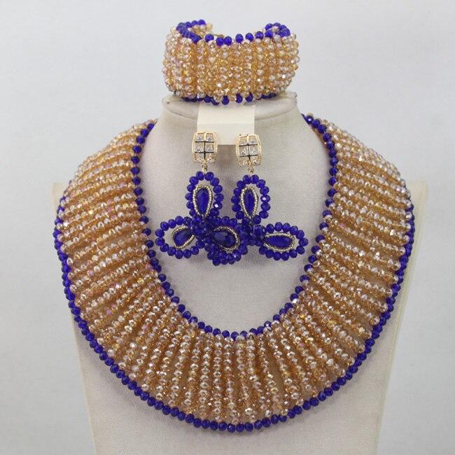 Großhandel Gold/Champagne Afrikanische Perlen Schmuck Set Royal Blue Nigerian Halsketten Armband Ohrringe Set Geschenke Freies Verschiffen QW682 - 4