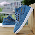 High Top Quality Denim Canvas Shoes Men's Flats Men Casual Shoes New 2017 Fashion Lace Up Vulcanize Footwear Spring Autumn D108