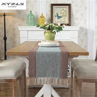 XYZLS פוליאסטר כותנה מפוספס מודרני רץ לשולחן דגל שולחן אוכל מפת שולחן עם גדילים לקישוט מסיבת חתונת 1 PC