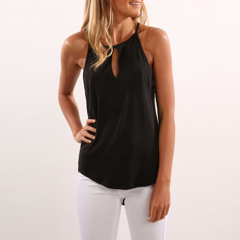 Fashion Womens Summer Hanging Neck Vest   Tops   Sleeveless Shirt Blouse Casual Solid Color   Tank     Tops   T-Shirt