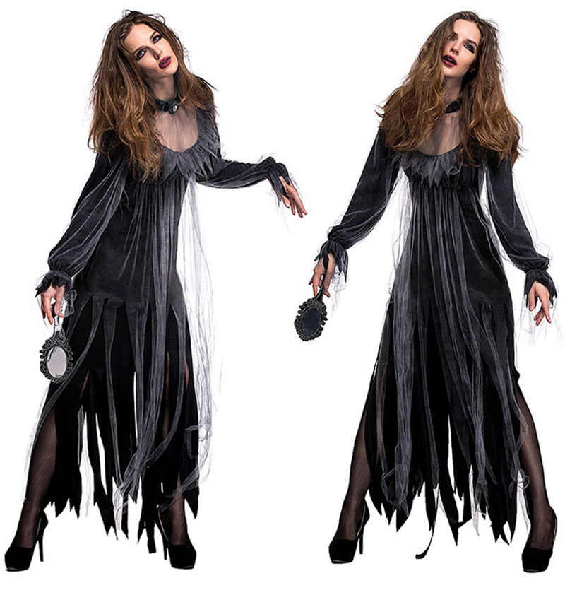 546ffe64adf Lady Halloween Gothic Horror Walking Dead Zombie Vampire Costume Black Dark  Gruesome Ghost Dress Scary Clothing For Female Women