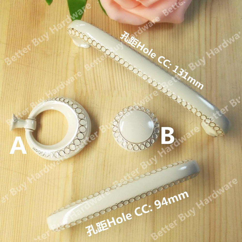 Ivory white color Knob with Flower Carved Hole CC 94mm/131mm furniture Handle Pull For dresser Wardrobe closet drawer cabinet