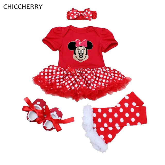 Fantasia Minnie Polka Dot Baby Girl Clothes Mameluco Del Cordón Vestido Perneras Zapatillas 4 UNIDS Tutú Recién Nacido Establece Conjunto Diadema Bebe