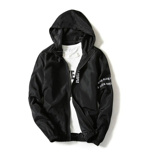 cc24ed6a7 US $30.64 |New 2017 Spring Jacket Coat Men Fashion Hooded Windbreaker  Jacket Man Black White Thin Style Summer Jackets Male Casual Clothing-in  Jackets ...