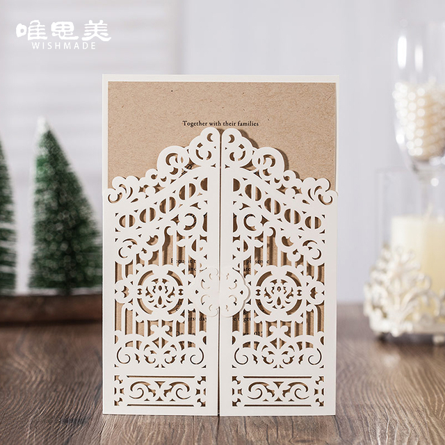 Wishmade 12pcs Lot White Laser Cut Wedding Invitations Birthday Party Greeting Cardstock Paper Craft With