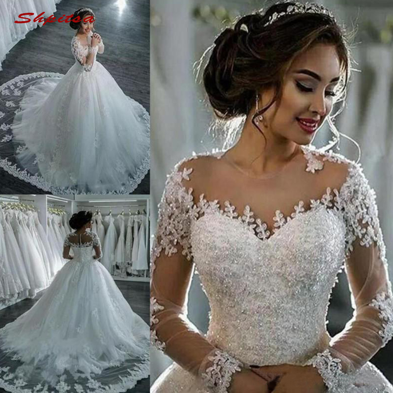 Luxury Long Sleeve Lace Wedding Dresses Ball Gown Tulle Plus Size Crystal Bride Bridal Weding Weeding Dresses Wedding Gowns 2019