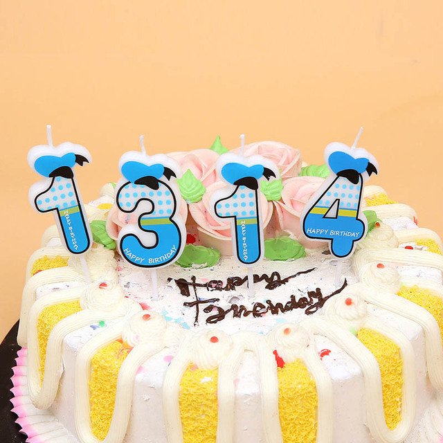 Fashion 1pc 0 9numbers Blue Pink Bowknot Happy Birthday Candles
