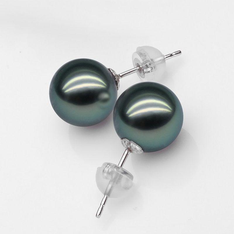 ASHIQI 100% Natural Tahiti Black Pearl Stud Earrings, Real 18K Gold Earring, 10 11mm perfectly round Pearl Jewelry