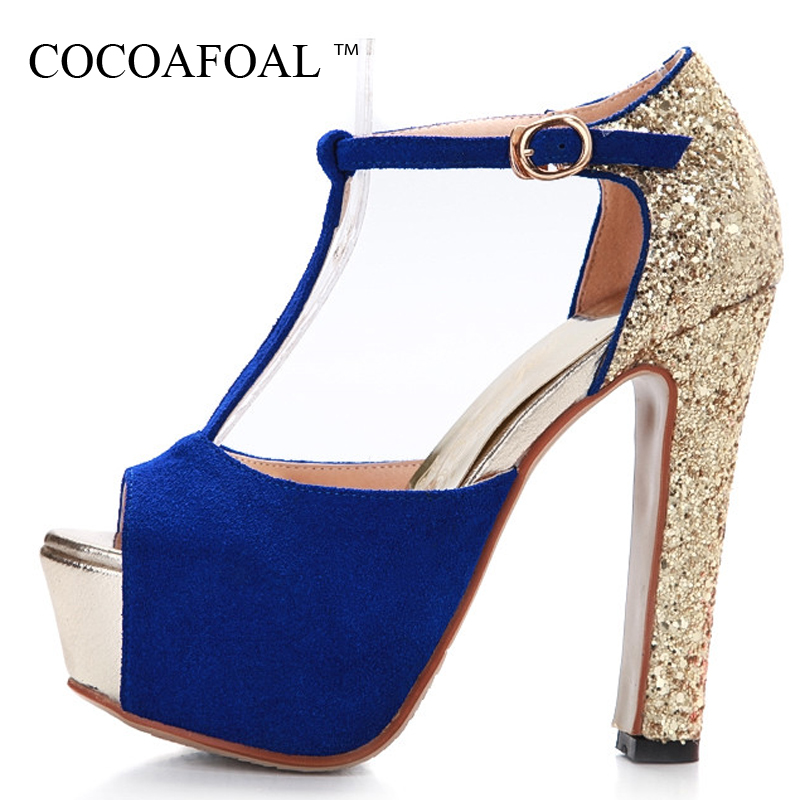 COCOAFOAL Woman Peep Toe High Heels Sandals Gladiator Women Shoes Wedges Black Red Blue Party Sexy Women High Heels Shoes 33 43 annymoli peep toe gladiator shoes women pumps denim high heels cutout stiletto zip thin heels party shoes blue large size 33 43