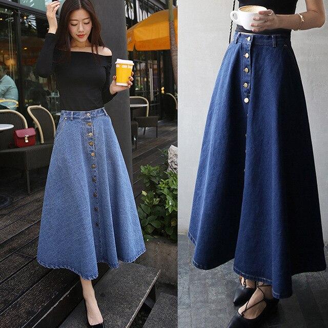Aliexpress.com : Buy Midi Skirts Womens 2017 Summer Pleated Denim ...