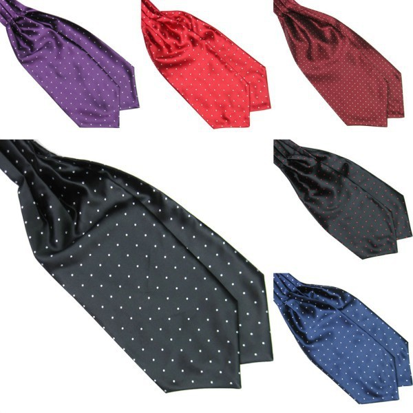 Fashion Polka Dot Men Long Silk Cravat Ascot Ties Handkerchief Gentlemen 4