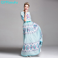 QYFCIOUFU Cute Floral Print Maxi Dress Women Vintage Long Ladies Dresses For Wedding Party Blue Luxury