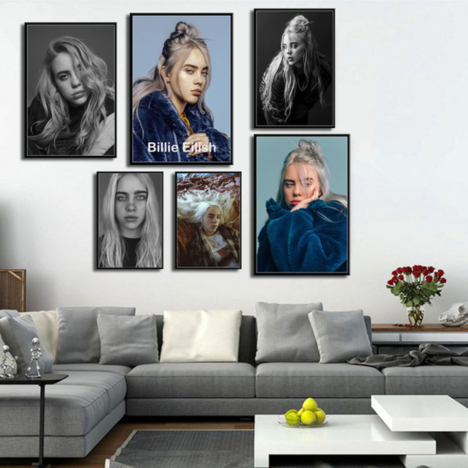 Art Painting Printed Modular Nordic Cafe Posters Pop Music Hot Star Billie Eilish Singer Canvas Wall Pictures Fashion Home Decor