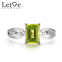 Leige Jewelry Natural Green Peridot Rings Promise Rings Emerald Cut Gems August Birthstone Rings Solid 925