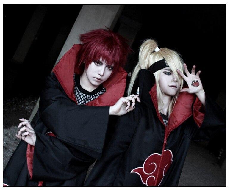 Аниме Наруто Косплей костюмы Акацуки Итачи плащи Deidara халаты размера плюс одежда для Хэллоуина вечерние XS-5XL